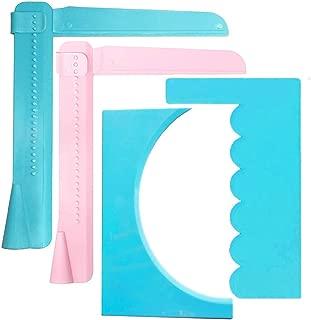 LORITARIA 2pcs Adjustable Cake Scraper Icing Smoother & 2pcs Cake Cream Decorating Spatula, Fondant Buttercream Edge Smoothing Polisher Tools, Set of 4 - Blue, Pink (Plastic)