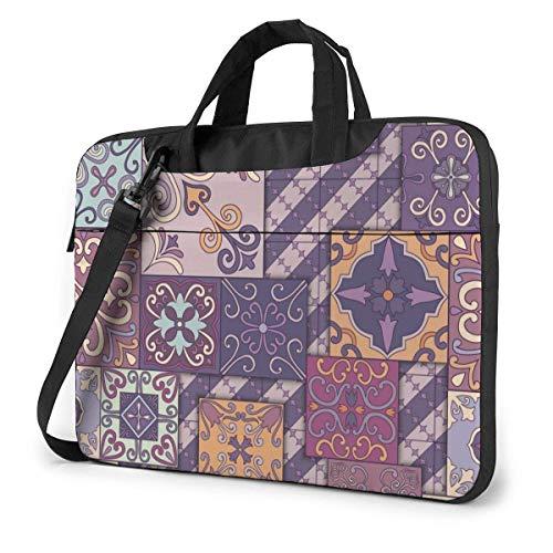 15.6 inch Laptop Shoulder Briefcase Messenger Portuguese Square Tile Graffiti Tablet Bussiness Carrying Handbag Case Sleeve