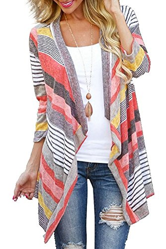 Women's 3/4 Sleeve Cardigans Striped Printed Open Front Draped Kimono Loose Cardigan Red Medium