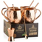 Moscow Mule Copper Mugs Set of 4 – Copper Jigger, Twisted Copper Straws