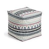 Kave Home - Puf Taos Multicolor Cuadrado 45 x 45 cm en Tela 100% poliéster para Interior y Exterior