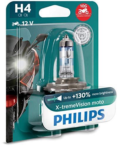 Philips 12342XV+BW X-tremeVision Moto +130{ba08936e5c4fe1569a81d7c084169cd9119344e4d31d9f8849dac855e1047069} H4 Motorrad-Scheinwerferlampe, 1 Stück