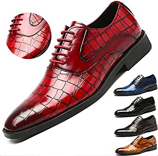 Italian Design Brand Men's Casual Business Wedding Formal Dress Crocodile Pattern Genuine Leather Comfortable Shoes Lace Up Derby Shoes Plus Size 38-48(one Size,Multi-Color)