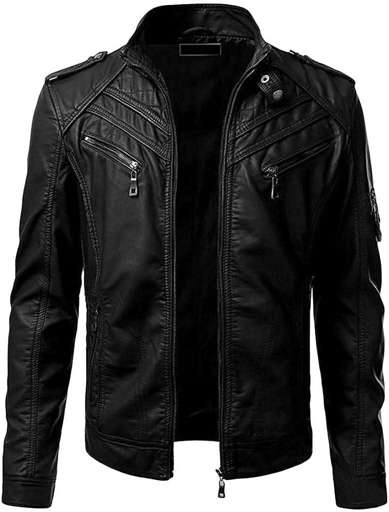 Biker Motorcycle Jacket 100% quality shipfree warranty for Men Zip Faux Full Leather Waterproof
