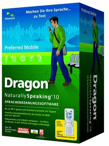 Nuance Dragon NaturallySpeaking 10 Preferred Mobile, DE - Software de reconocimiento de voz (DE, Intel Pentium4/AMD Athlon 64 1GHz, Windows Server 2000/Windows XP (SP2)/ Windows 2000 (SP4)/Vista, DVD-ROM, Microsoft Internet Explorer 6, DEU)