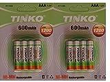 8 x 600 mAh 1,2 V recargable AAA NI-MH baterías para Teléfono inalámbrico/luces solares