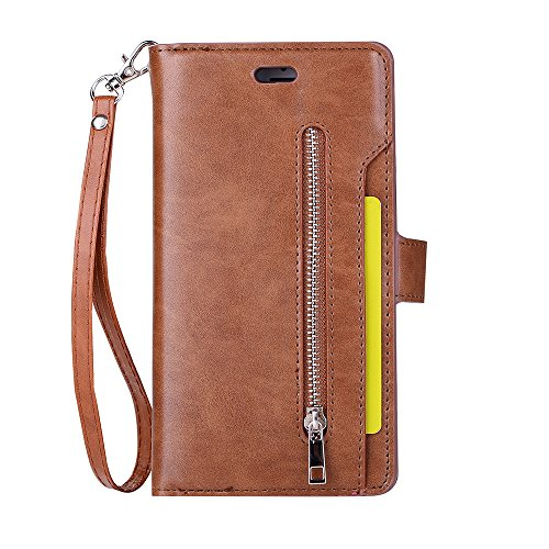 iPhone 6S Plus Case, iPhone 6 Plus Case, Folice Zipper Wallet Case [Magnetic Closure]& 9 Card Slots, PU Leather Kickstand Wallet Cover Durable Flip Case for Apple iPhone 6S & 6 Plus (Brown)