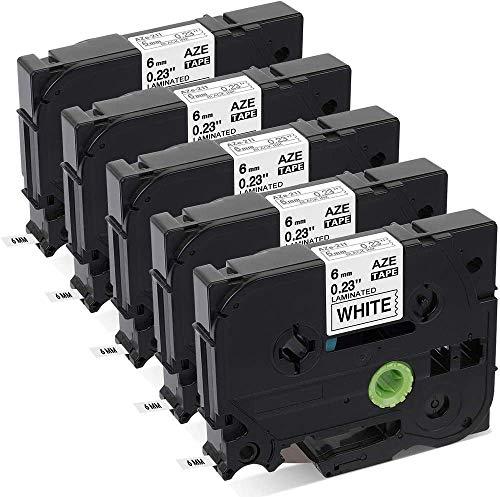 Aken kompatibel Schriftband als Ersatz für Brother P-touch Tze 6mm Band TZe-211 TZe211 TZ-211 schwarz weiß, für Beschriftungsgerät P-touch 1000 1010 1280 H105 H110 D400 D600 E100 Cube, 5er Packung