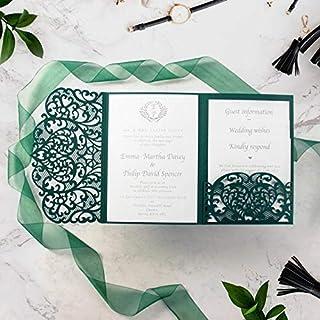 50 CARTE CONFEZIONE Colore verde bosco elegante apribile taglio laser inviti matrimonio fai da te partecipazioni matrimoni...