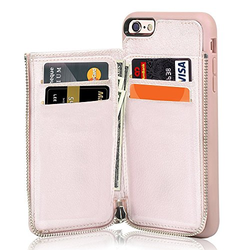 iPhone SE 2nd Generation Wallet Case iPhone 7/8 Case Wallet - LAMEEKU Leather Credit Card Slot Holder Cover with Zipper Wallet, Protective for Apple iPhone 7/8/SE 4.7 inch - Rose Gold