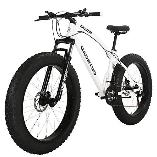 Outroad Fat Tire Mountain Bike 26 inch 21 Speed Grass Sand Bicycle Snow Bike, White