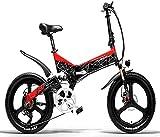 LANKELEISI Bicicleta eléctrica, Bicicleta de montaña, Bicicleta eléctrica de Ciudad Plegable para Adultos 400w 48v batería de Litio Shimano Bicicleta eléctrica Multifuncional de 7 velocidades (Rojo)
