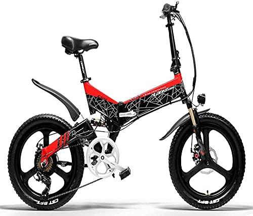LANKELEISI Bicicleta eléctrica, Bicicleta de montaña, Bicicleta eléctrica de Ciudad Plegable para...