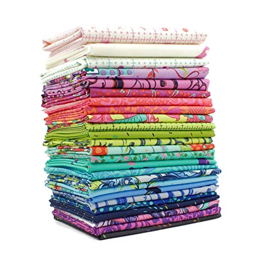 Free Spirit Homemade Fat Quarter Bundle (25 pcs) by Tula Pink 18 x 21 inches (45.72cm x 53.34cm) Fabric cuts DIY Quilt Fabric