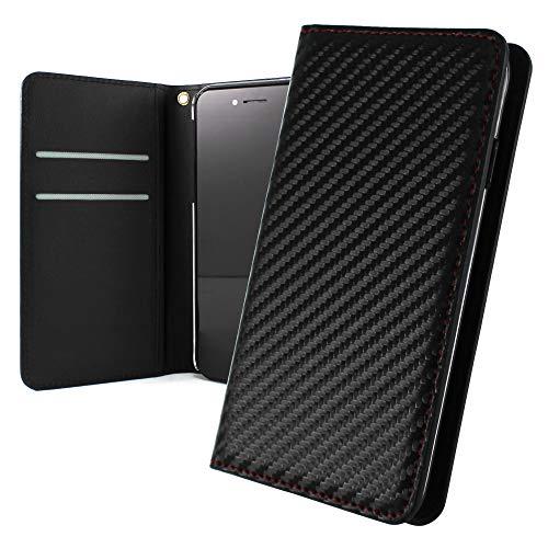 WHITENUTS Huawei Ascend G620S L02 ケース 手帳型 ベルトなし レッドステッチ カーボン調 オーダー手帳 MX