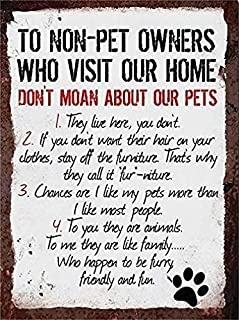 Jesiceny New Tin Sign Rules to Non Pet Owners Dog Cat Lover Steel Poster Gift Aluminum Metal Sign for Wall Decor 8x12 INCH