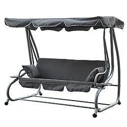 Outsunny Hollywoodschaukel Gartenschaukel 3-Sitzer Liegefunktion Stahl Beige Hollywoodschaukel Gartenschaukel mit Sonnendach Schaukelbank Schaukel mit Liege-Funktion Grau
