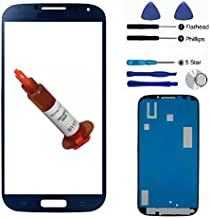 Dark Blue Front Outer Lens Glass Screen Replacement For Samsung Galaxy S4 SIV i9500 Gray repair kit + Adhesive + Tools + 5ml UV LOCA Liquid Glue
