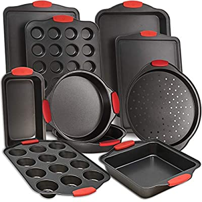 PERLLI Nonstick Bakeware Sets, 11 Piece Steel Baking Pan Tray Set with Silicone Handles Kitchen Oven Safe, Cookie Sheet, Muffin Pan, Cake Pan, Bread Loaf Pan, Brownie Pan w/Microfiber Cleaning Cloth