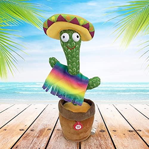 B/C 12.6 Pulgadas Entretenimiento Cactus Plush | Cactus de Canto Lindo está Vestido con Capas de Colores y Sombreros adecuados para la educación temprana de los niños (excluyendo Las baterías)