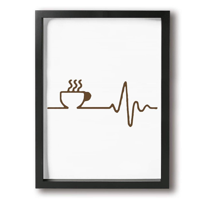 ファイバ惑星ライバルMachine mer コーヒー 心電図 絵画 フレーム装飾画 キャンバスアート アートパネル 壁画 壁掛け 絵 モダンアート 版画 壁飾り ポスター Black