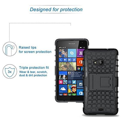 ROXEL Shockproof Back Cover for Microsoft Lumia 540 Hybrid Kickstand Back Case Defender Cover - Black