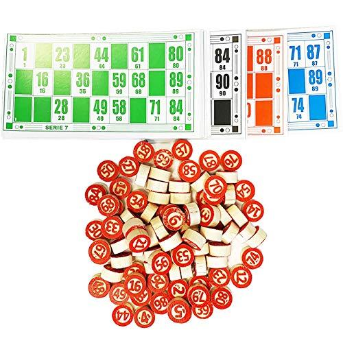 Acan Estuche de Madera 90 Bolitas de Bingo y 48 cartones