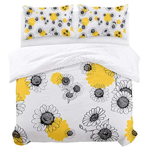 Olivefox Polka Yellow Small Daisies Luxury Bedding Duvet Cover Set (1 Duvet Cover + 2 Pillow Shams) with Zipper Closure and Corner Ties Soft Bedding Set for Boys/Girls Full