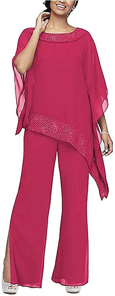 Women's Elegant Fuchsia 3 Pieces Pant Suits Set Chiffon Mother of The Bride Dress with Outfit Wedding Party US20W