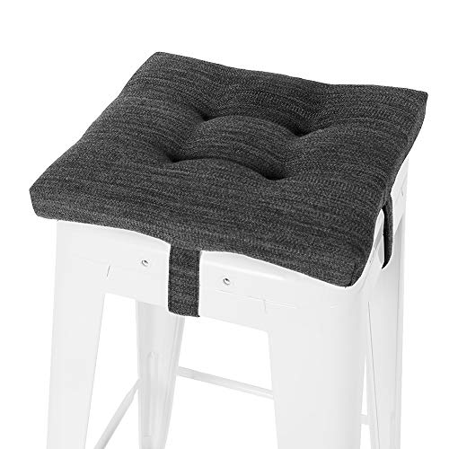 """Square Seat Cushion, baibu Super Soft Bar Stool Square Seat Cushion with Ties - One Pad Only, (Gray-Black 14""""(35CM)"""