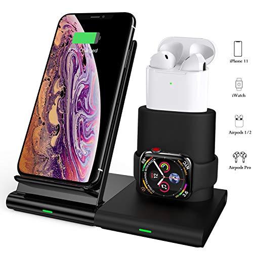 COULAX Kabelloses Ladegerät 3 in 1 Kabellose Ladestation Fast Wireless Charger für iWatch 5/4/3/2 und Airpods,Abnehmbare und Magnetische Ladestation,7.5W für iPhone 11/Pro Max/XS/Xs Max/XR/X/8/8 Plus