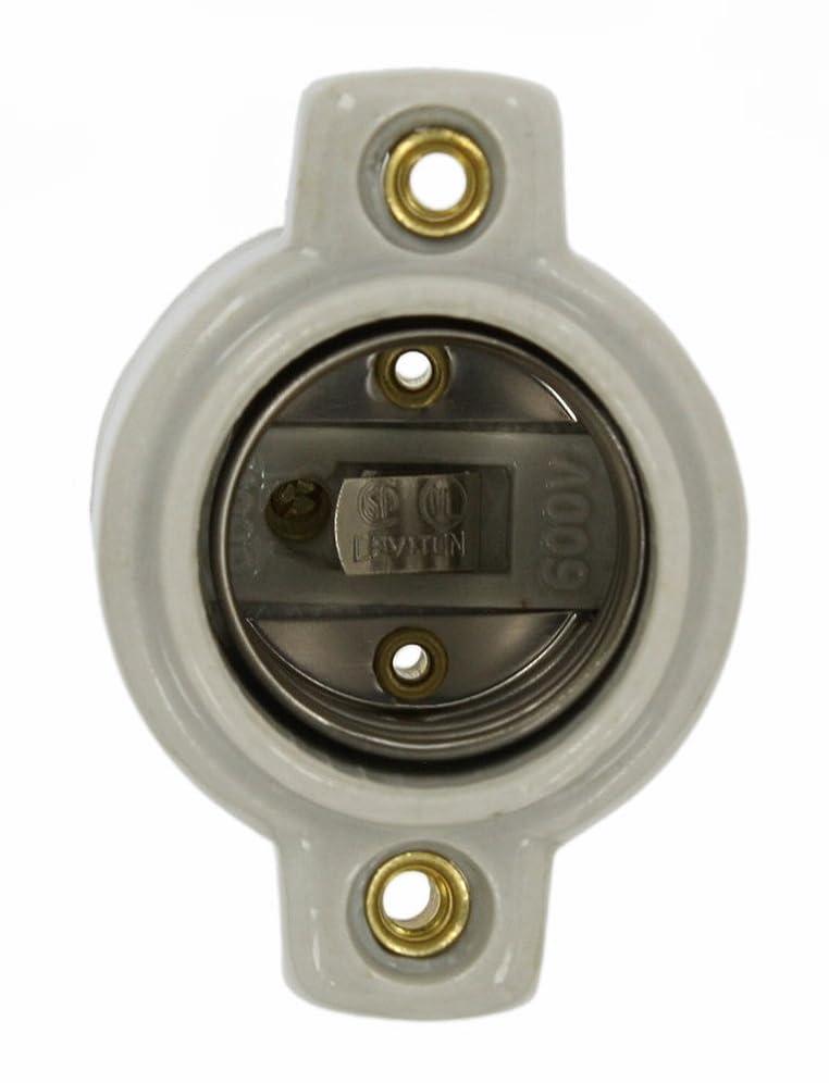 成分有毒考えLeviton 9885ミディアムベース、ワンピース、キーレス、白熱灯、無光沢の磁器のランプホルダー、ホワイト