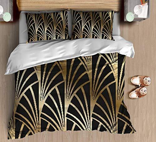 Retro Muster Bettbezug Set - Jugendstil, Art Deco, Gold, Schwarz, Muster - Bettwäsche Set mit Kissenbezug Geschenk für Kinder Teen Bettbezug