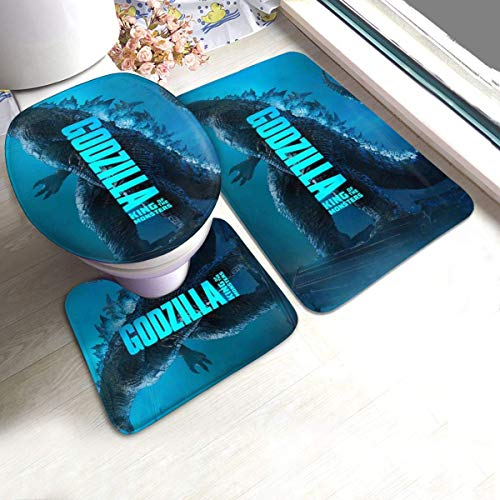haoqianyanbaihuodian Toilet-Monster-Godzi-lla-Rugs-Kitchen - Alfombra de 3 piezas, antideslizante para baño, alfombrilla antideslizante para puerta de suelo y bañera