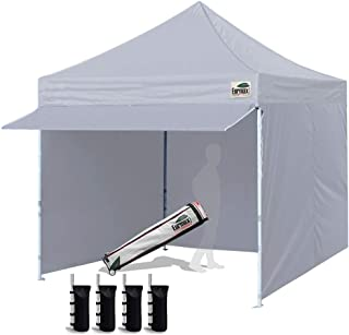 Eurmax 10 x 10 Pop up Canopy Commercial Tent Outdoor Party Canopies with 4 Removable Zippered Sidewalls and Roller Bag Bonus 4 Canopy Sand Bags & 24 Squre Ft Extended Awning(Grey)