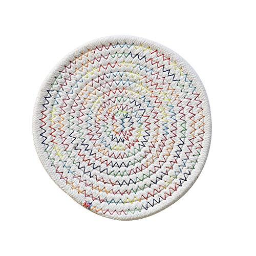Gespout Set de Table Rond Beige Fil de Coton Nettoyable Doux Résistance à Haute Température Tasse à Café Plaque 24cm