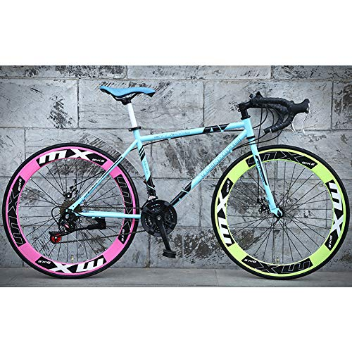 26-Inch Road Bike, 24-Speed Double Disc Brake Bicycles, High Carbon Steel Frame, Road Bicycle Racing, Rider Height 165-185 cm (5.4-6 Feet),Pink