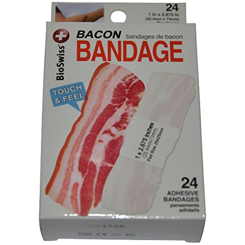 BioSwiss Novelty Bandages Self-Adhesive Funny First Aid, Novelty Gag Gift (24pc) (Bacon)