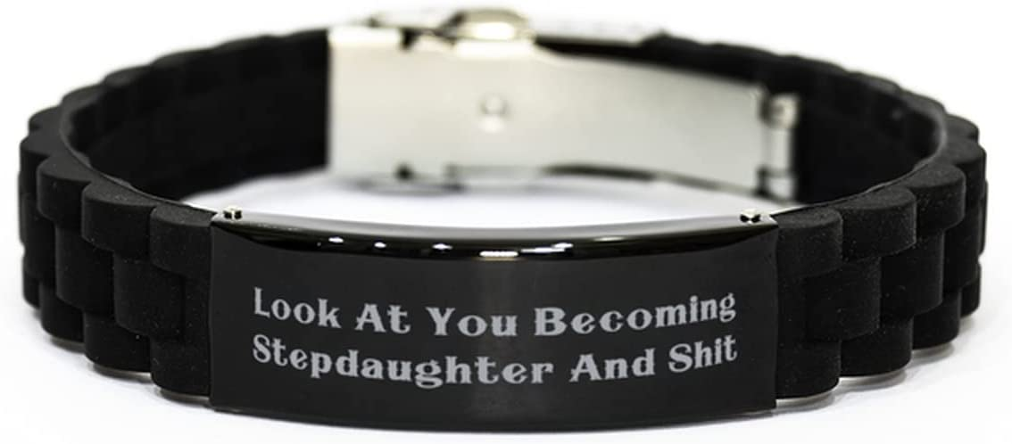 Look at You Becoming Stepdaughter and Black Glidelock Clasp Bracelet, Stepdaughter Present from Mother, Joke Engraved Bracelet for Daughter