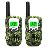 Walkie Talkies for Kids 3-14 Year Old Girl and Boy Gifts Toys 22 Channels Children's Walkie Talkie Set Outdoor Adventures Hiking Camping Gear Games for Girls and Boys Camo - 1 Pair