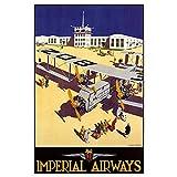 zkpzk Cartel Publicitario Vintage Imperial Airways Croydon Pinturas Clásicas En Lienzo Carteles De Arte De Pared Vintage Decoración para El Hogar Regalo-60X80Cmx1 Sin Marco