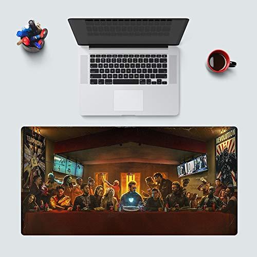 SXHY Gaming Mouse Pad Vengadores, Iron Man Spider-Man Ultra Gruesa Extendido Animado Alfombrilla De Ratón con Antideslizante De Goma Base, Proceso Hemming, De Superficie Lisa AA+++