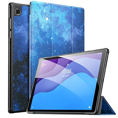 MoKo Funda Compatible con Lenovo Smart Tab M10 HD 2nd Gen/Tab M10 HD 2nd Gen, Ultra Slim Ligera Función de Soporte Protectora Plegable Smart Cover Cubierta Auto Sueño/Estela, Noche de Estrella Azul