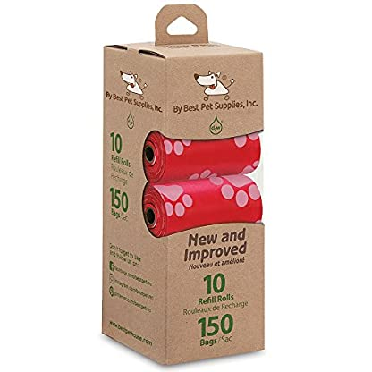 Best Pet Supplies Dog Poop Bags for Waste Refuse Cleanup, Doggy Roll Replacements for Outdoor Puppy Walking and Travel, Leak Proof and Tear Resistant, Thick Plastic - Red, 150 Bags (RD-150B) 4