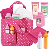 """Click N' Play Baby Girl Doll 12"""" with Pink Soft Carrying Bag Including Cleaning Caring and Feeding Accessories"""