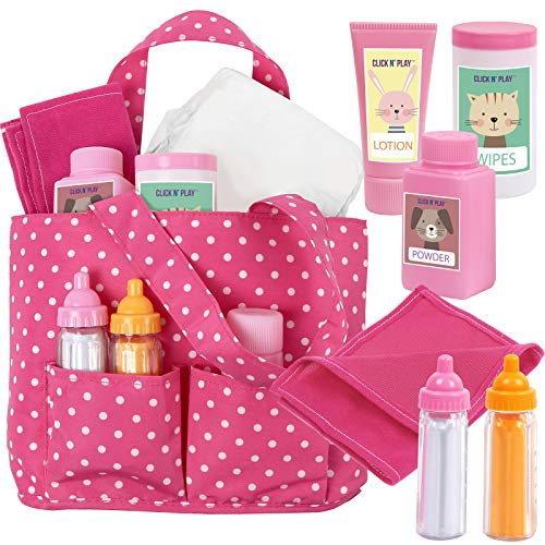 Click N' Play Baby Girl Doll Pink Soft Carrying Bag Including Cleaning Caring and Feeding Accessories