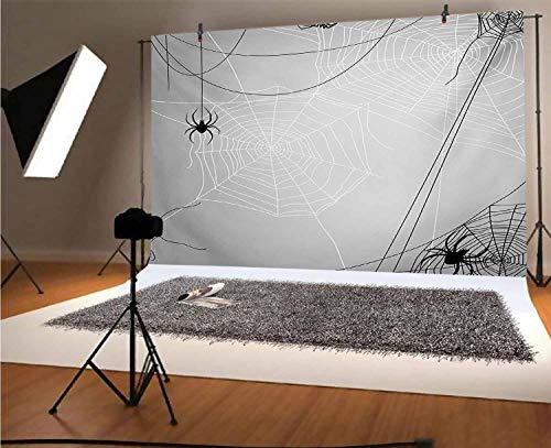 Spider Web 8x6 FT Vinyl Photo Backdrops,Spiders Hanging from Webs Halloween Inspired Design Dangerous Cartoon Icon Background for Selfie Birthday Party Pictures Photo Booth Shoot