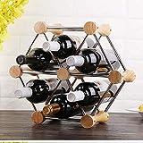 BFDMY 6 Botella Hexágono Vino Vino Rack Rack de Vino del Roble Natural Rack Titular de la Botella de Vino de Acero Inoxidable Roble Bastidores de Metal (Roble + Acero Inoxidable)
