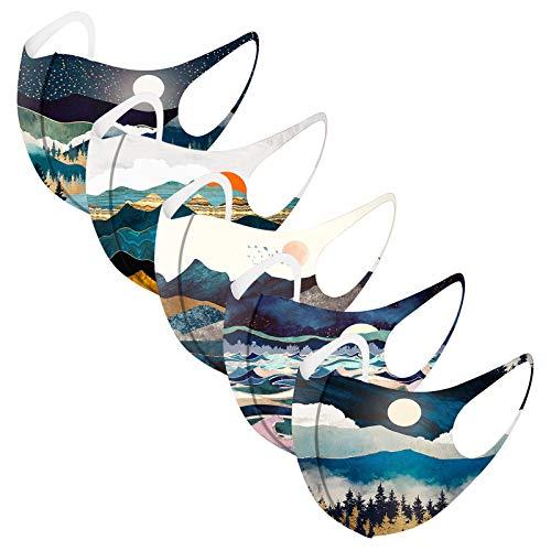 Erwachsene Mundschutz Multifunktionstuch, Landschaftsmalerei Motiv Maske, Weiche Nahtlos Atmungsaktive Eisseide Stoffmaske Waschbar Wiederverwendbar Staubdicht Mund-Nasenschutz Bandana Halstuch