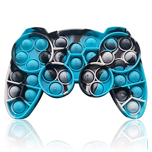 HooYiiok Gamepad Tie Dye Push Pop Pop Fidget Toy, Stress Relief Pop Game for Autism ADD and ADHD Special Needs Anxiety, Popper Fidgets Toys for Girls and Kids (Blue Camouflage)